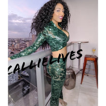 Load image into Gallery viewer, Xena Swerve: Sheer Le Fleur Green Sequin Crop Top Pant Set, Sets, CallieLives