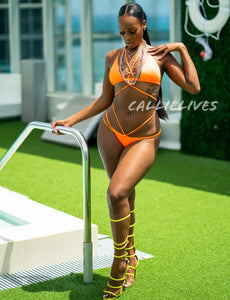 Stasia Orange: Braided Strappy Triangle 2PC Bikini, Swimwear, CallieLives