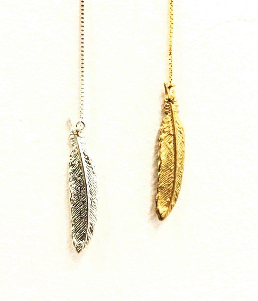 Bohemia Small Feather Chain Earring Single