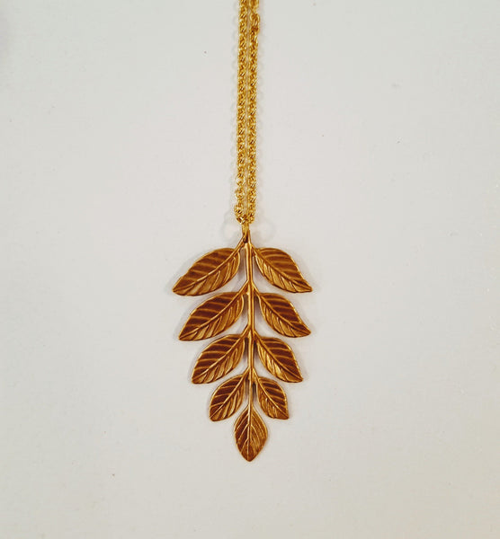 Bohemia Medium Fern necklace, brass and silver
