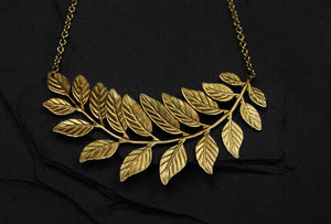 Bohemia Fern Bend Necklace gold and silver