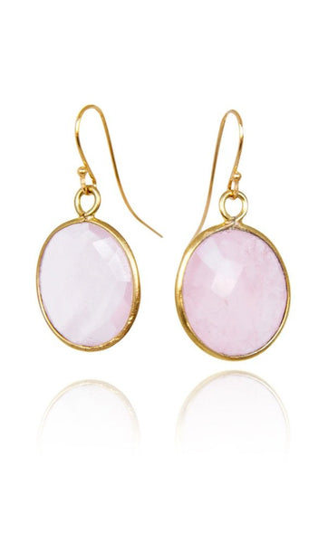Bohemia Stone Pendant Earrings in Rose Quartz