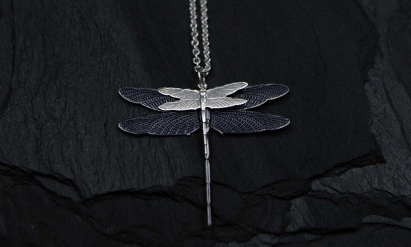 Bohemia Dragonfly Doublefly Necklace Silver Plated Brass