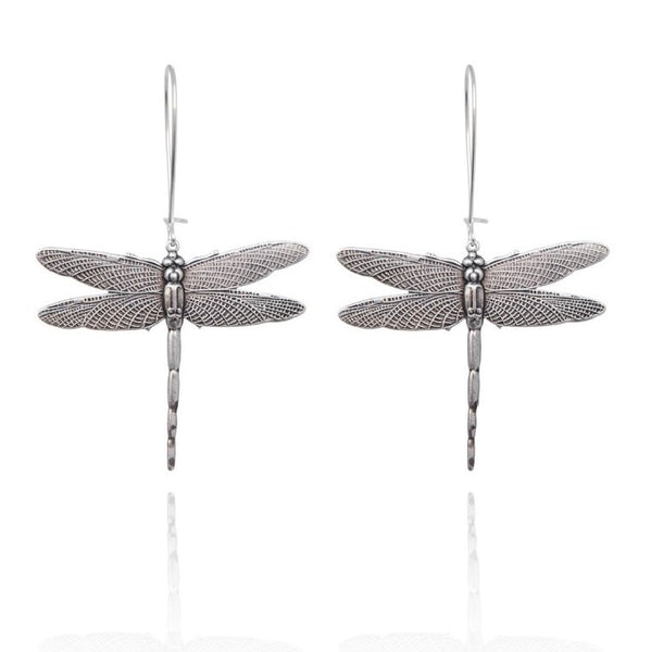 Bohemia Dragonfly Earrings in Silverpleated Brass pair
