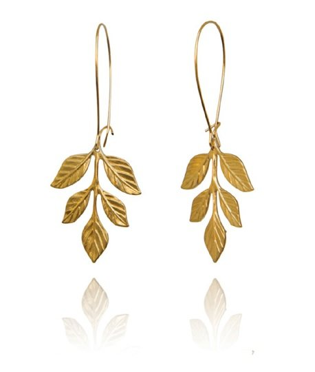 Bohemia Pair Small Fern Earrings Gold