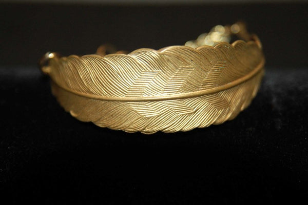 Bohemia armband Feather i guld
