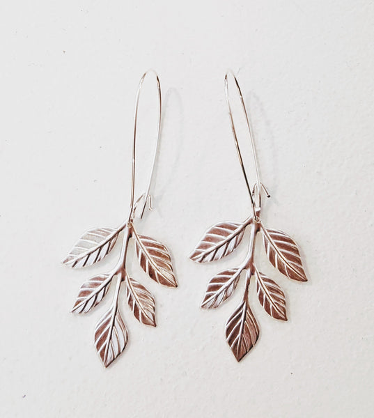 Bohemia Pair Small Fern Earrings in Silver