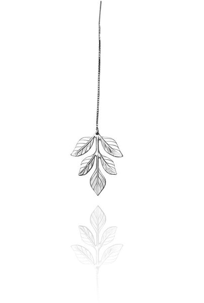 Bohemia Fern Earring on Chain in Silver or Brass