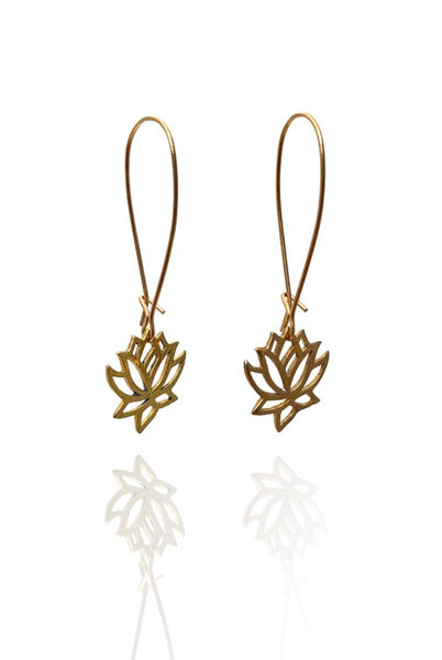 Bohemia Pair of Small Lotus Earrings in Brass or Silver