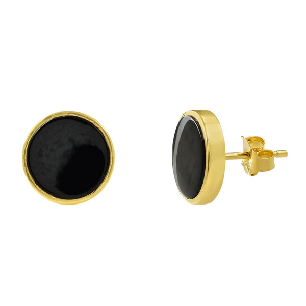 Örhängen, studs med svart onyx, unisex - Uma Collection