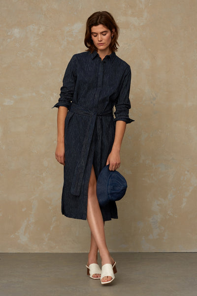 Kings of Indigo Maggy Stripe Indigo Shirt Dress