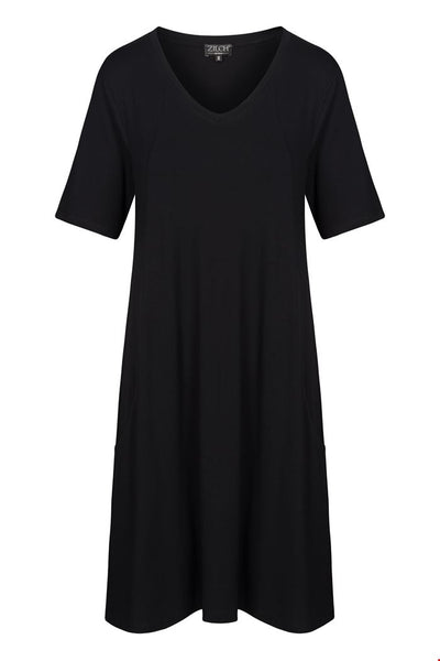 Zilch V-Neck Dress in Black with Pockets