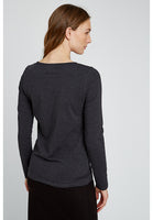 People Tree Fallon Long Sleve Top in Dark Grey Melange