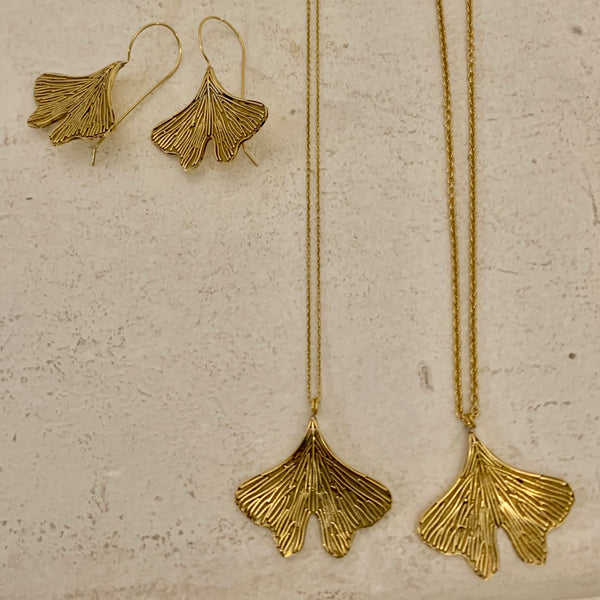 Bohemia Ginko Leaf Necklace in Brass