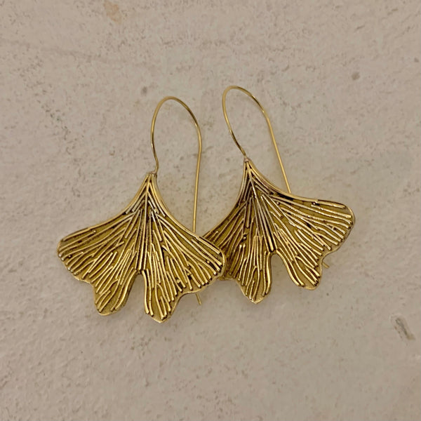 Bohemia Ginko Leaf Earrings in Brass pair