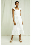People Tree Jaya Broderie Dress in White