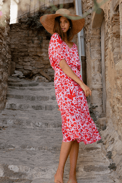 Poppy Field Alma Dress in Mentawai Red Print