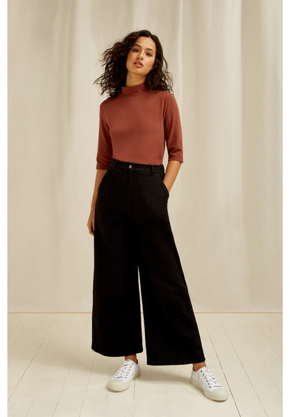 People Tree Rochelle Wide Leg Trousers In Black