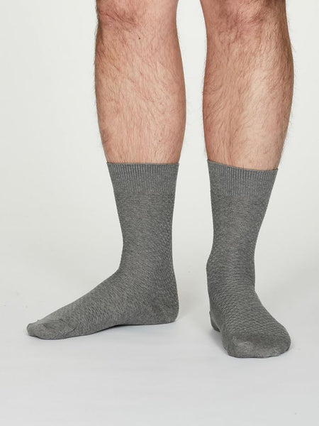 Thought Geoffrey Organic Cotton Suit Socks in Mid Grey Marble- unisex