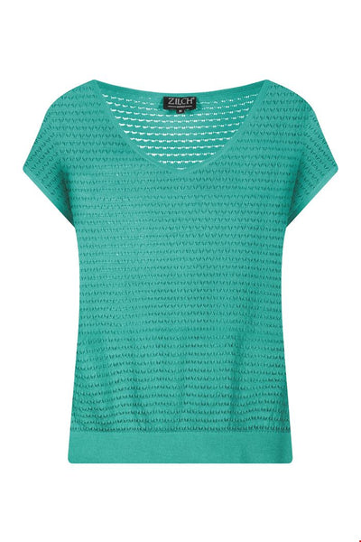Zilch Top V-Neck Knit  in Emerald