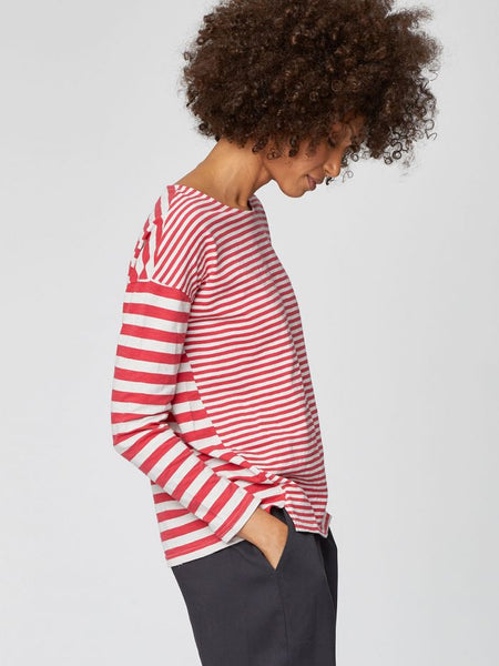 Thought Bamboo Stripey Tee Rhubarb - 30% REA