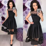 Lace Patchwork Sleeveless Party Dress