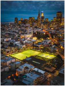 "North Beach at night, San Francisco - 24"" x 32"" Aluminum Print"