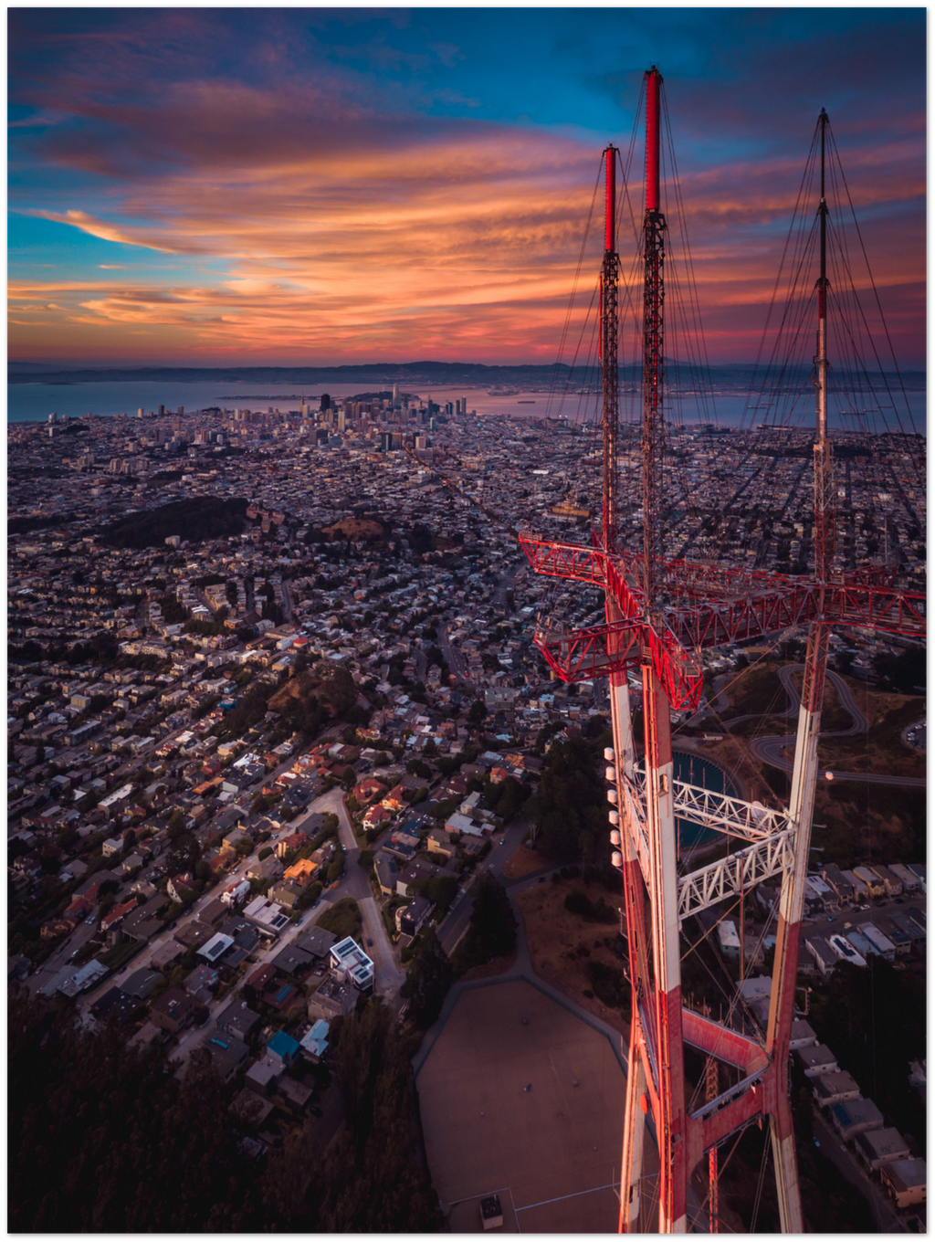 "Sutro Tower Sunset, San Francisco - 24"" x 32"" Aluminum Print"