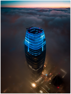 "Salesforce Tower above the fog, San Francisco - 24"" x 32"" Aluminum Print"