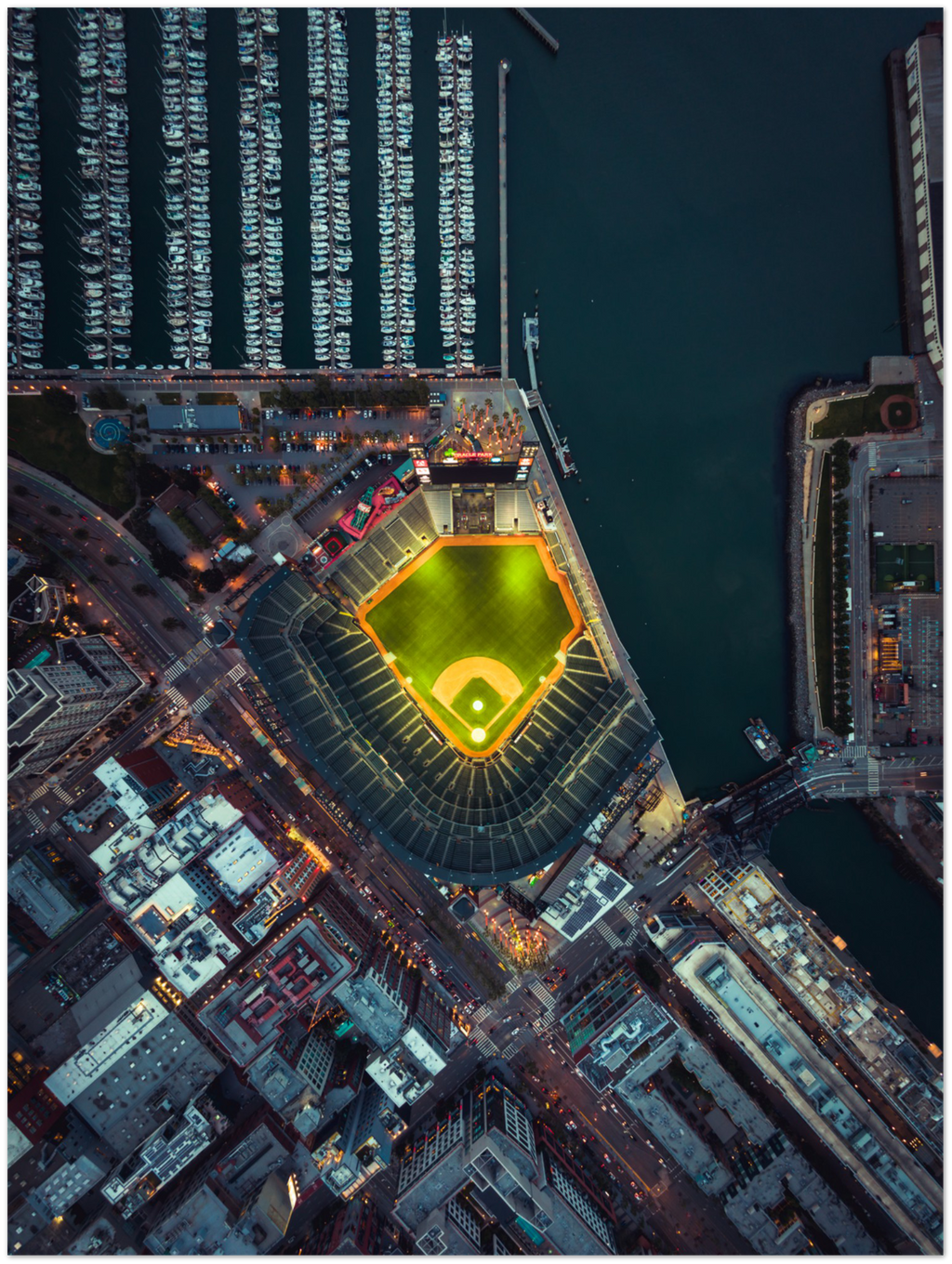 "Oracle Park from above, San Francisco - 24"" x 32"" Aluminum Print"