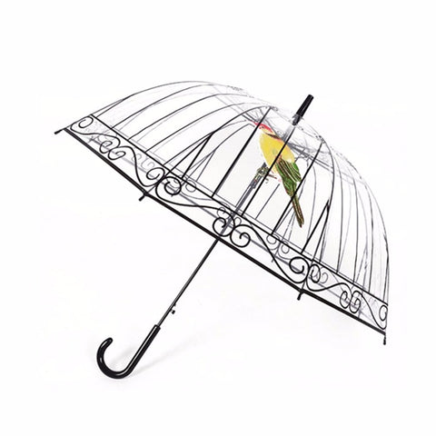 Transparent Umbrella with Apollo Bird In The Cage For Sunny And Rainy Days and Rave Fests!