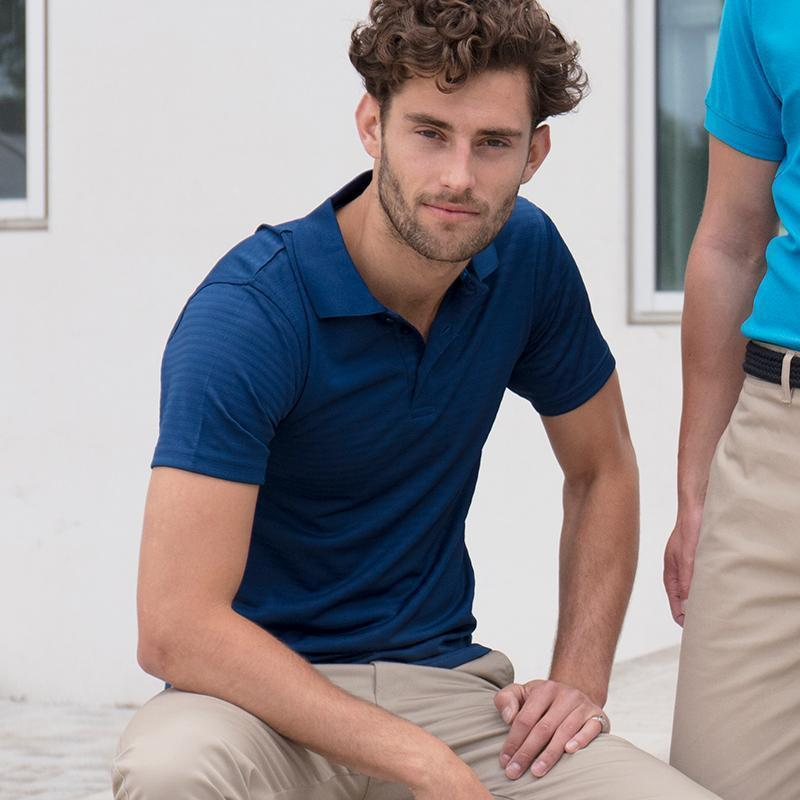 Henbury Cooltouch textured stripe polo Vivid Blue