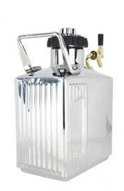 128 oz. Mirrored Polish Growler with CO2 Cap and Tap