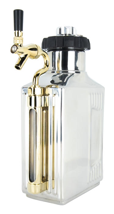64 oz. Mirrored Polish Growler with CO2 Cap and Tap