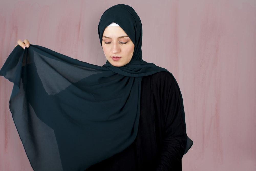 Dark Slate Gray x Wrinkle Chiffon