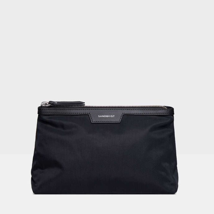 SANDQVIST Mikaela wash bag - Black w/ Black Leather