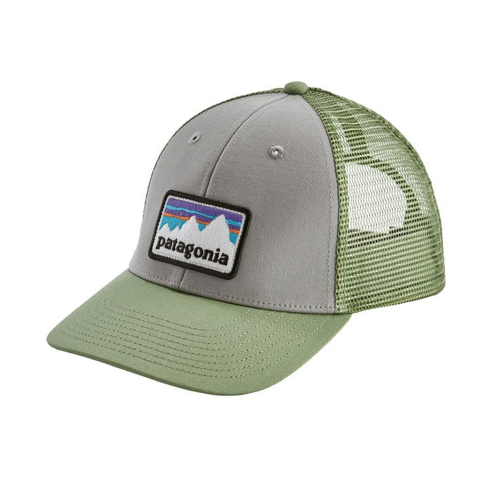 Patagonia Shop Sticker Patch LoPro Trucker Hat - Drifter Grey w/Matcha Green
