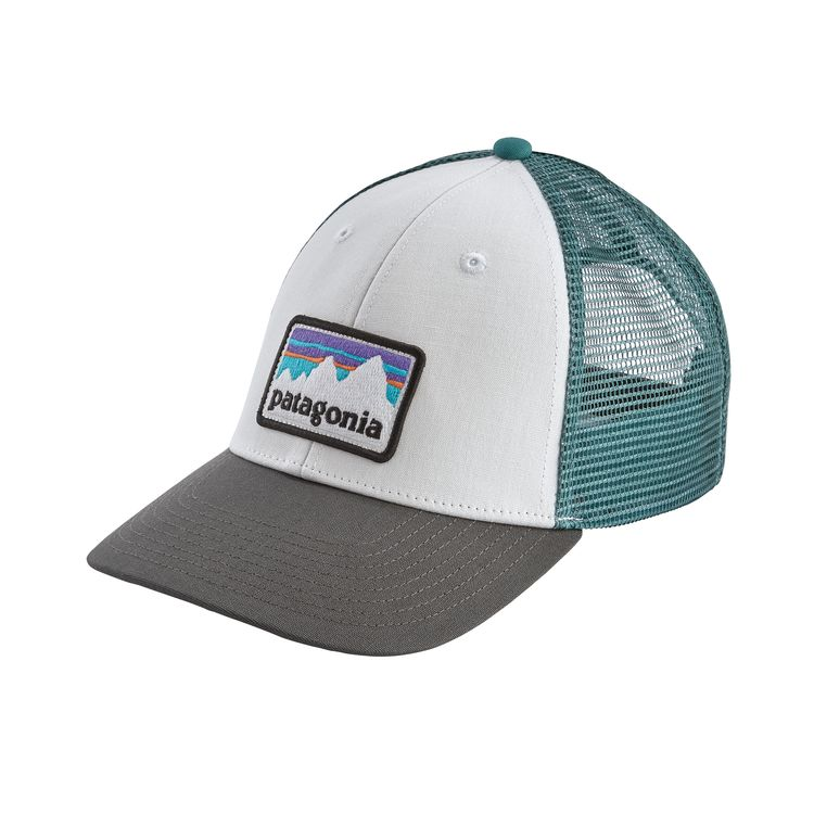 Patagonia Shop Sticker Patch LoPro Trucker Hat - White w/Forge Grey