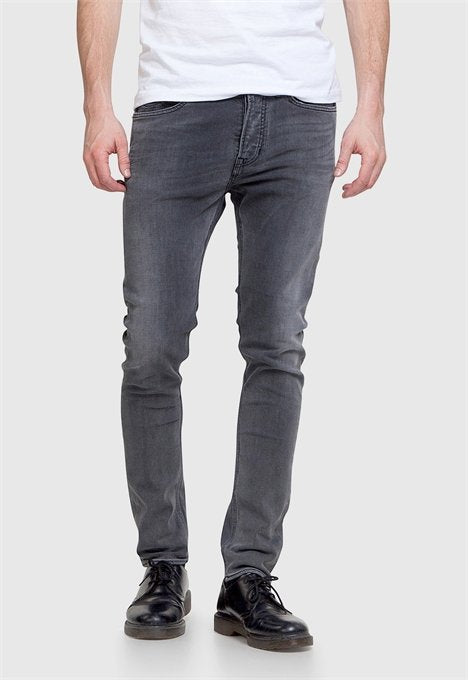 KINGS OF INDIGO- slim JOHN-Grey worn in