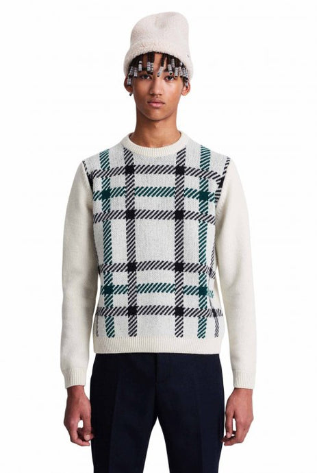 Wood Wood Latimer Lambswool sweater  -  offwhite/green