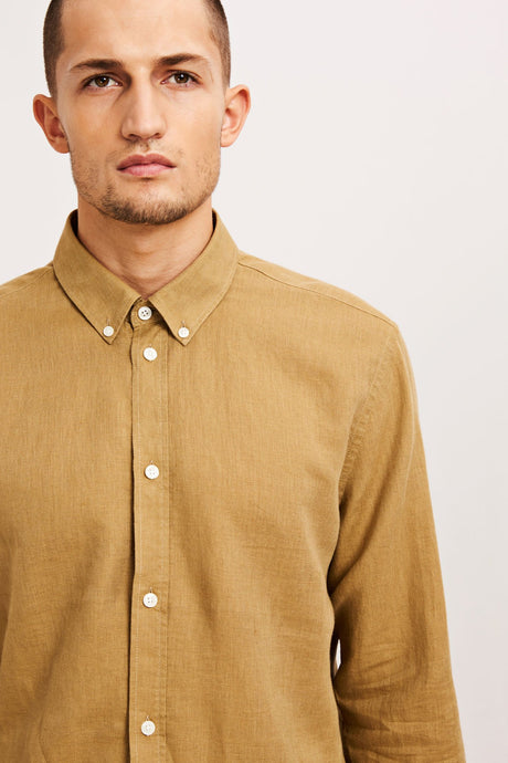 Samsøe & Samsøe  LIAM CX Linen Shirt - Antique Bronze