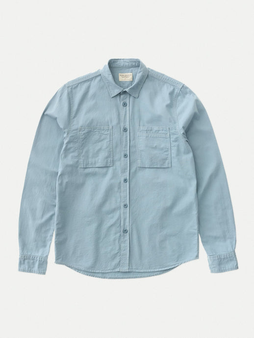 NUDIE JEANS Henry Army Shirt - Blue Metal