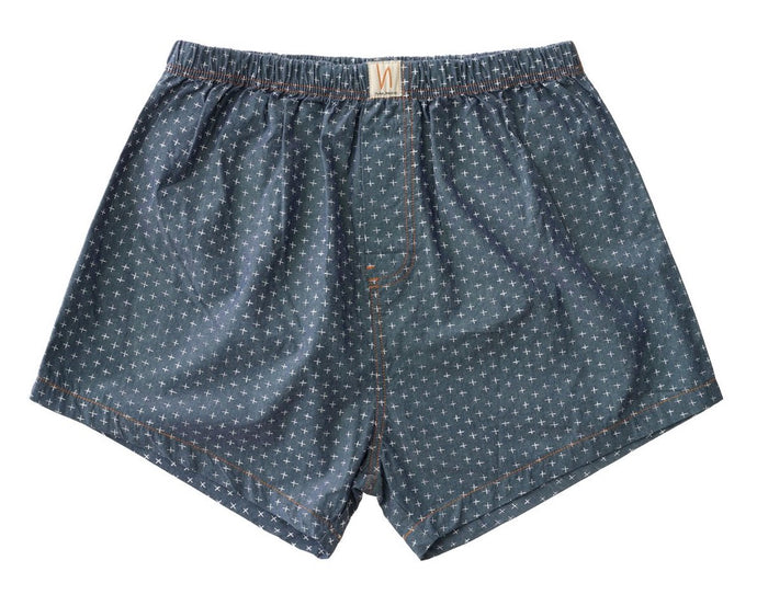 NUDIE JEANS Chambray Boxers - Cross indigo