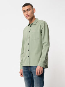 NUDIE JEANS Henry Pigment dyed shirt- Pale Green