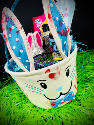 Blue Burlap Bunny Easter Basket