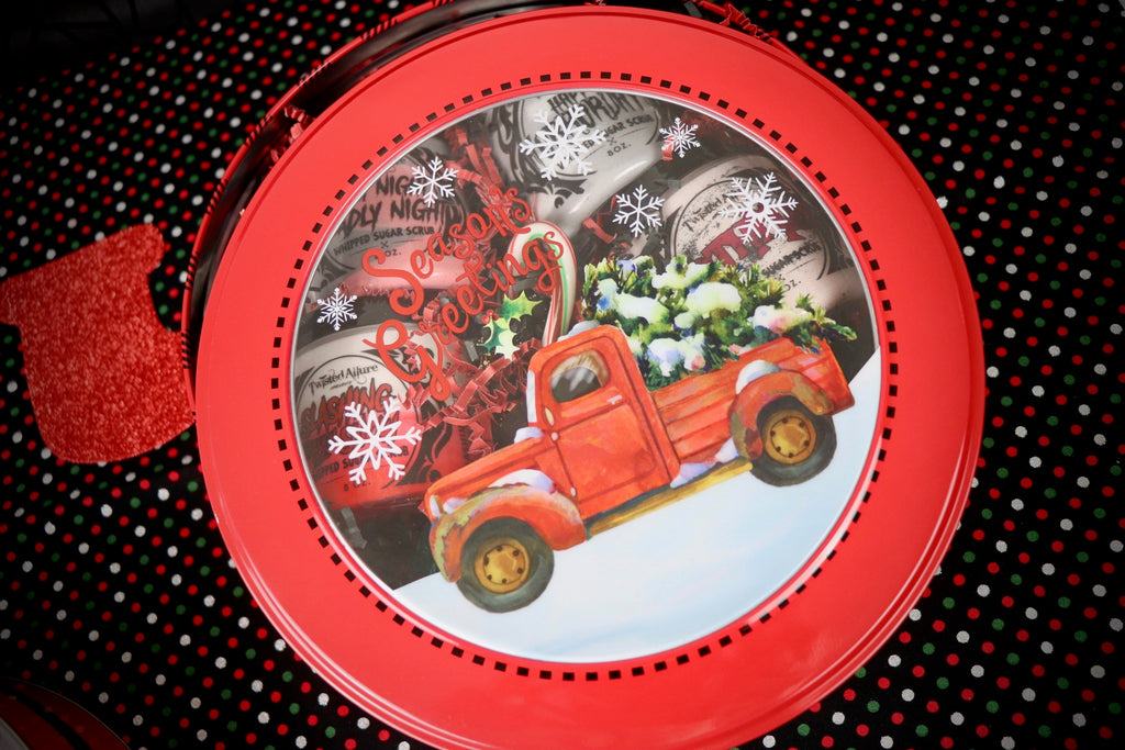 Round Red & black Truck Tin