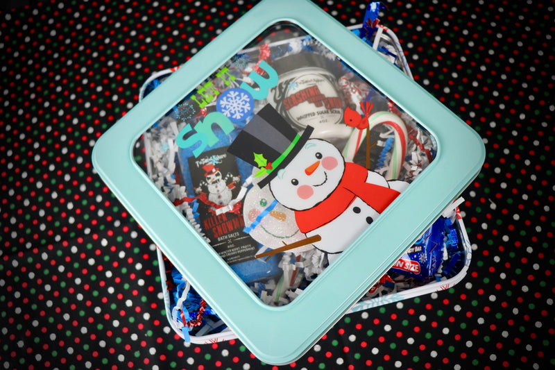 Small Square Snowman Tin