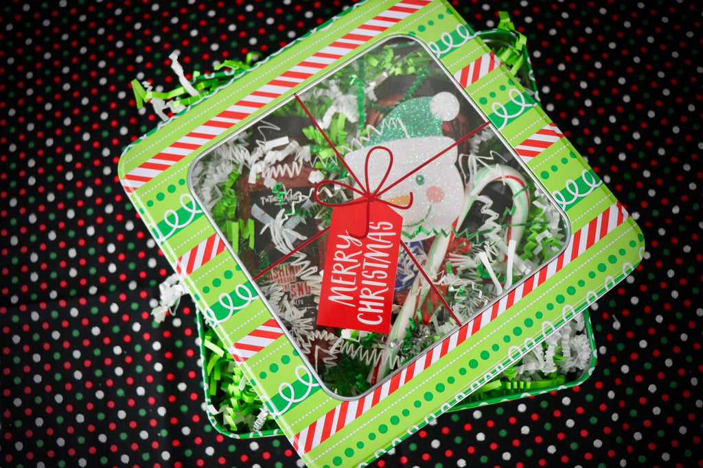 Small Square Green Merry Christmas Tin