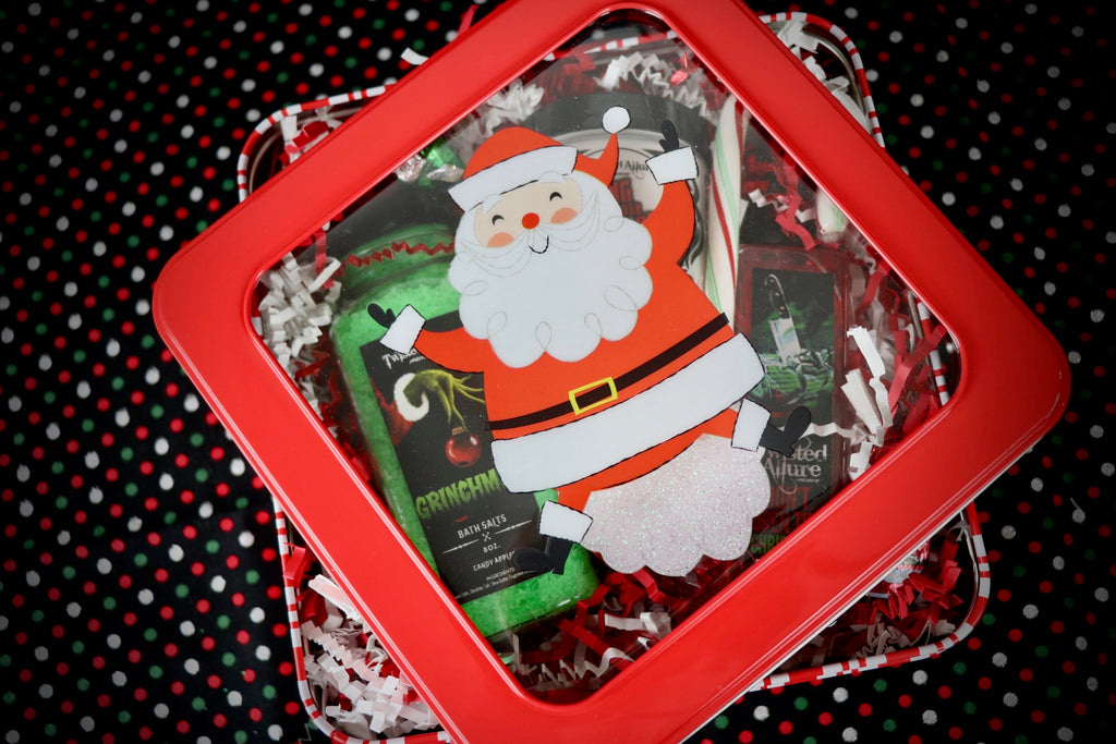 Small Square Red Santa Tin