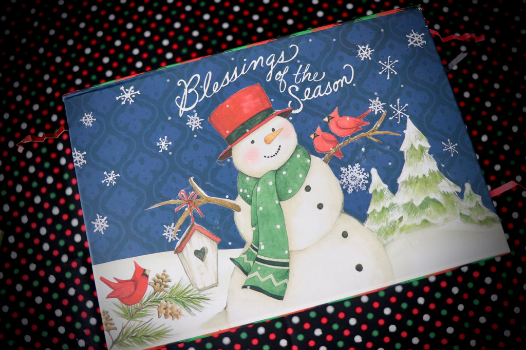 Small Blue Blessings Snowman Box